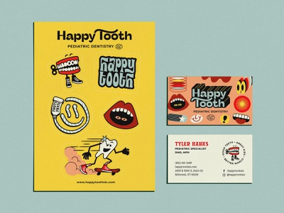Happy Tooth Pediatric Dentistry Branding branding illustration brand identity hood fonts hoodzpah