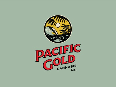 Pacific Gold Cannabis Branding cannabis packaging cannabis branding cannabis design cannabis logo seal hoodzpah branding logo illustration