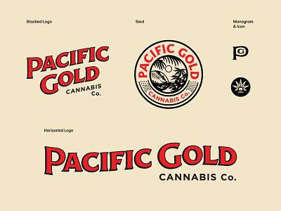 Pacific Gold Cannabis Branding cannabis packaging cannabis branding cannabis design cannabis logo seal hoodzpah branding logo illustration