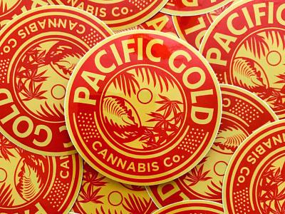 Pacific Gold Cannabis Branding packaging design cannabis packaging cannabis branding cannabis logo design seal hoodzpah branding logo illustration