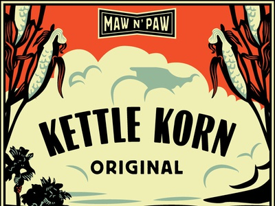 Maw N Paw Label Option A label retro vintage classic car corn pacific ocean california laguna illustration ford truck