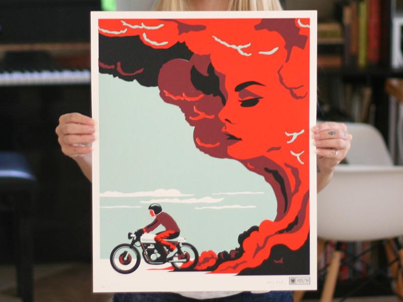 Road Beckons Screen Print Poster poster motorcycle moto guzzi cloud smoke road illustration retro