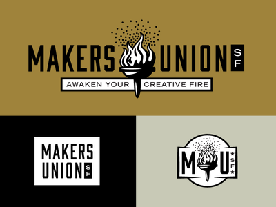 Makers Logo A logo branding torch flame apparel seal retro vintage