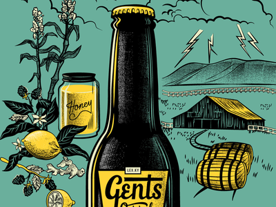 Gents Poster V1 B3 vintage retro kentucky bottle ingredients lemon honey ginger sugar barn lightning poster