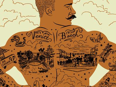 Ode to Venice Beach, CA illustration california muscles man hand drawn surfboard venice beach tattoos pin-up bikini