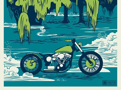 Eden Gardens Bobber Poster bobber chopper harley motorcycle florida south mist weeping willow bayou illustration