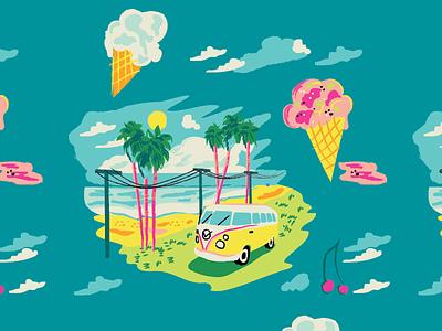 Best Coast Aloha Pattern pattern vw bus beach california coast palm tree clouds hawaiian aloha ice cream