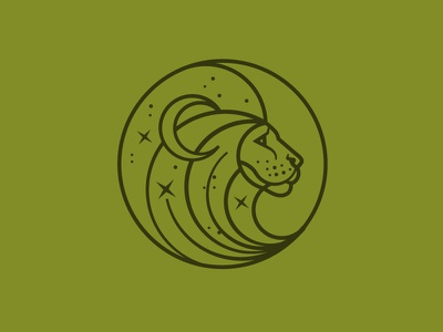 Natural Lion Logo Icon natural moon stars lion icon logo