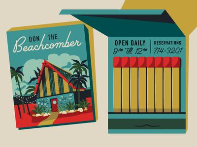 Palm Canyon Drive Matchbook california palm tree hut match matches midcentury modern illustration vintage tiki retro matchbook