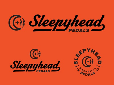 Sleepyhead 3 rock n roll sound moon wordmark script retro nashville guitar music logo