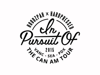 In Pursuit Of Tour Logo pacific northwest palm canyon drive hoodzpah script seal logo
