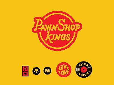 Pawnshop Kings Final Logos icon crown vinyl record seal vintage retro blues southern music branding logo