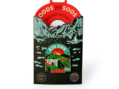 Odds and Sods New Packaging odds and sods big sur hand drawn yosemite lapel pin enamel pin diecut packaging