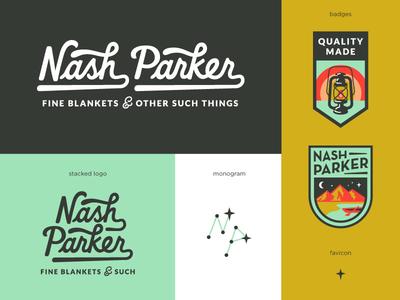 Nash Parker Blankets Final Logo System lettering logo constellation stars lantern mountains badge script retro vintage