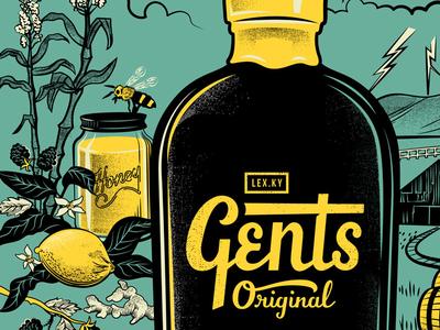 Gents Snub Bottle Poster  kentucky barn soda ginger sugar vintage bee honey illustration lemon bottle