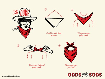 How To Wear A Bandana The Duke hoodzpah odds and sods handkerchief step guide cowboy bandana illustration how to