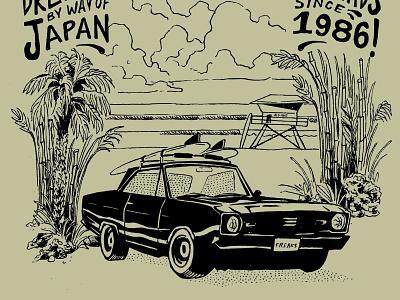 Freaks 30 year graphic illustration hand drawn psychedelic retro palm tree california surfing surf beach dart dodge