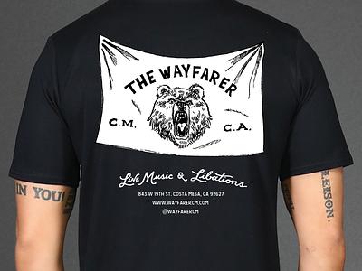 Wayfarer Tee india ink hand drawn illustration flag california bear venue bar t-shirt