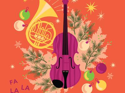 Holiday Caroling Illustration hoodzpah pine star snow ornament christmas caroling violin horn garland holiday illustration