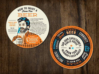 Docent Coaster Revised man drinking hoodzpah illustration 50s retro vintage brewery beer coaster