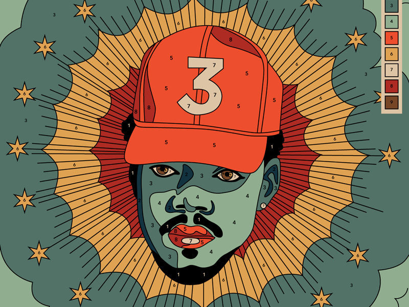 10x16: Chance Rapper  stars halo hoodzpah paint by numbers religious illustration