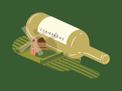Wine Illustration - Champagne vineyard illustration simple field isometric france windmill champagne wine