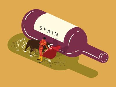 Wine Illustration - Spain illustration isometric bottle dust dirt bull wine spanish spain matador