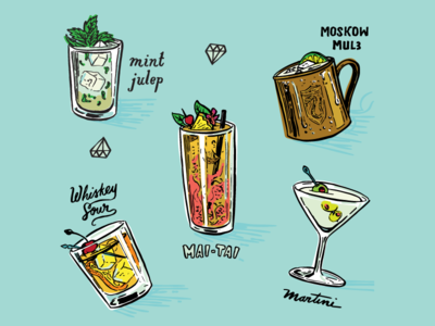 Cocktail Drink Pattern hand drawn illustration whiskey mai tai martini alcohol drink cocktail pattern