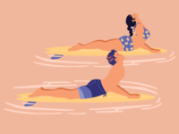 BYI Surfing  Yoga Illustration
