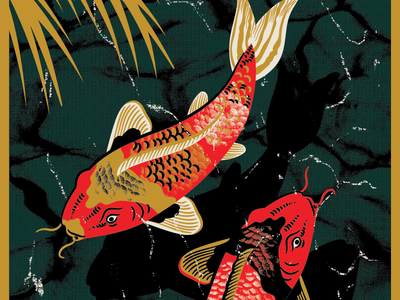 Koi Fish in Pond hoodzpah palm fish reflection water pond koi illustration