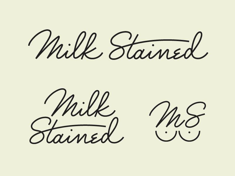Custom Milk Stained Logo Wordmark icon mother lettering vintage retro script wordmark logo