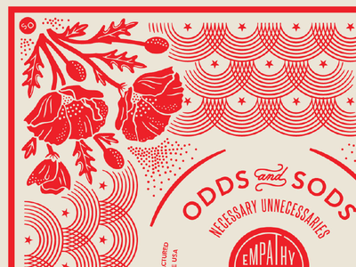 Poppy Bandana Detail pattern leaves vintage bandana stripes stars poppies poppy