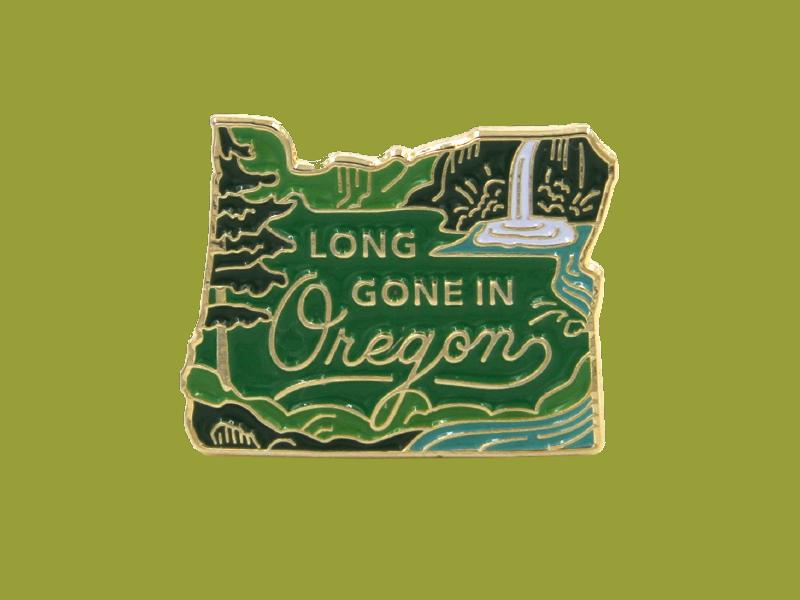 Long Gone Oregon Pin 02 stream waterfall trees forest lapel pin enamel pin oregon