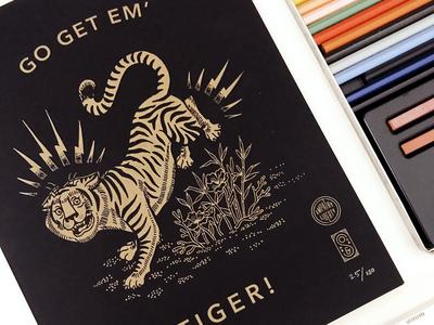 Go Get Em Tiger Letterpress Print