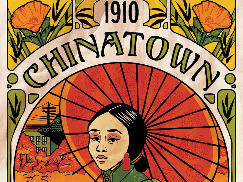 Chinatown Art Nouveau - Eureka Show Submission chinese poster vintage fall umbrella illustration poppies art nouveau chinatown