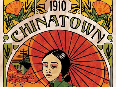 Chinatown Art Nouveau - Eureka Show Submission chinese poster vintage fall umbrella illustration poppies art nouveau chinatown
