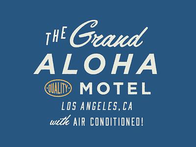The Grand Aloha Logo Concept A hoodzpah seal motel retro branding logo