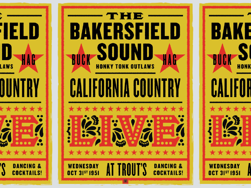 Bakersfield Sound Poster california western country honky tonk 1950s 50s retro vintage poster