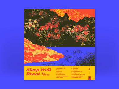 10x17: 7. The National - Sleep Well Beast field flowers rain shore water negative bitmap halftone album art