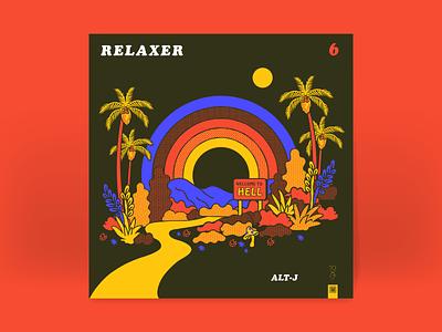 10x17: 6. Alt-J - Relaxer 70s sun plants psychedelic rainbow retro palm tree