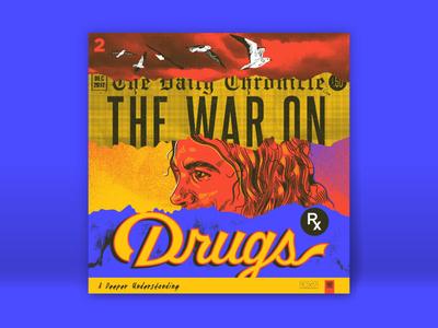 10x17 - 2. War On Drugs, A Deeper Understanding torn tear newspaper birds bitmap retro vintage script lettering portrait illustration seagull