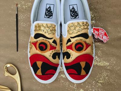 Vans Custom Culture Shoes dragon shoes handmade felt custom apparel vans