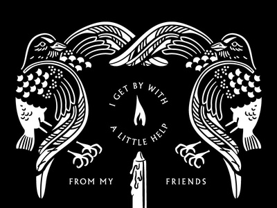 Get By With A Little Help fire flame candle feather wing bird