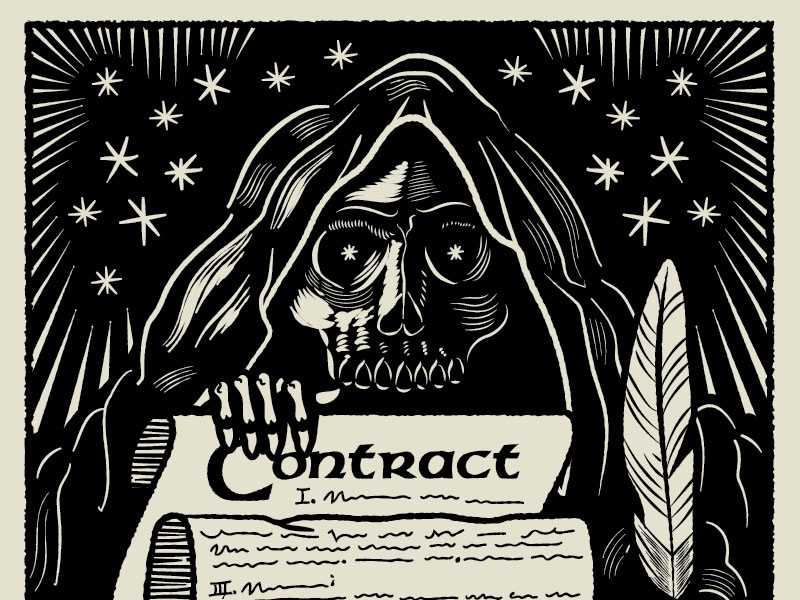 Contracts Are Scary contract quill skull feather block print etching stars reaper skeleton