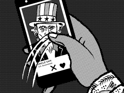 Chapter 7 Dribbble halftone phone swipe hand government uncle sam