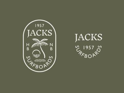 Jacks Seal logo sunset sun vintage sea ocean palm palm tree seal surfing surf
