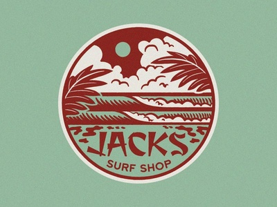 Jacks Psychedelic Waves Seal sun waves water surf beach psychedelic seal clouds palm