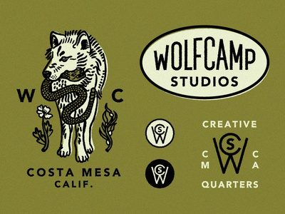 Wolf Camp Studios Identity System identity system logo seal wolf snake monogram seaweed.