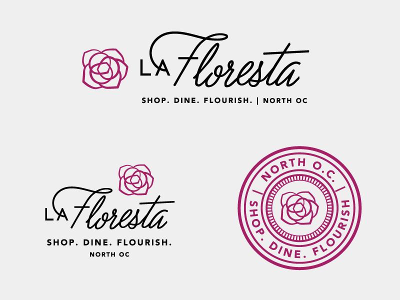 La Floresta Logo System script cursive floral flower logo system identity system seal logo branding