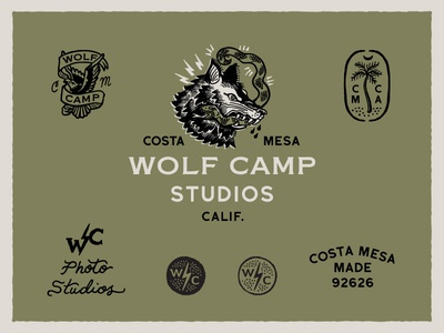 Wolfcamp Studios Logo System flash tattoo logo identity system system seal palm tree snake eagle wolf